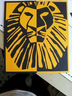 The Lion King notan. Made in yellow and black paper.