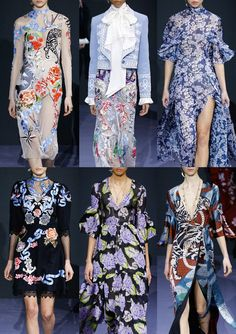 06-temperley-london-aw1617 - Naval Tattoo Embroidery's  – Seafaring Collections – Naval Uniform Braids – Sea Creatures – Beautiful Blossom Prints – Pixillated Floral Pattern – Impressive Tiger Tattoo Placements
