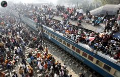 An overcrowded train leaves Dhaka's Airport rail station ahead of the Muslim festival Eid-al-Adha. Muslims around the world celebrate Eid-al-Adha to mark the end of the haj by slaughtering sheep, goats, cows and camels to commemorate Prophet Abraham's willingness to sacrifice his son Ismail on God's command.