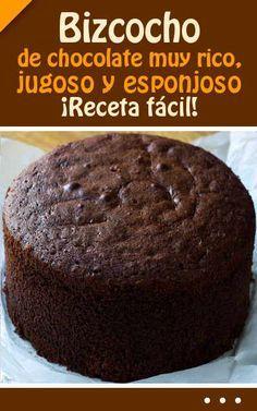 Bizcocho de chocolate muy rico, jugoso y esponjoso. Food Cakes, Cupcake Cakes, Sweet Recipes, Cake Recipes, Pan Dulce, Savoury Cake, Chocolate Desserts, Cake Chocolate, Cakes And More
