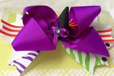 Halloween witch hat embellishment purple orange green hair bow on Etsy, $8.00