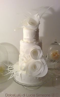 White on white. Flowers and ribbon decor