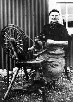 +~+~ Antique Photograph ~+~+  Crofter spinning wool on Island of Harris, Scotland.