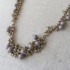 "JCrew Long Gold & Purple Necklace In PERFECT condition! ✨ This necklace is gold with really pretty light purple beads. Laying flat, it is about 18"" long.  Well cared for & from a smoke-free home! J. Crew Jewelry Necklaces"