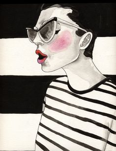 Jailbird Stripes, Original Fashion Illustration on Etsy, $168.90 AUD
