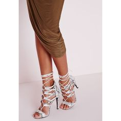 0f33c7e125f Missguided Strappy Heeled Sandals Snakeskin ( 60) ❤ liked on Polyvore  featuring shoes