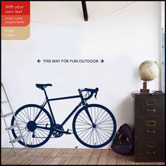 Bicycle wall decal  A race Bicycle on your wall Road by Citystic : bicycle wall decal - www.pureclipart.com