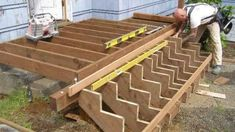 Building Deck Stairs Building deck stairs is actually quite easy but is probably the hardest to master as a beginner till you gain a good understanding of the process. Components To Typical Stairs // Stringers, Tread and Risers Stringers cut from 2 x 12s are the sloped boards on the