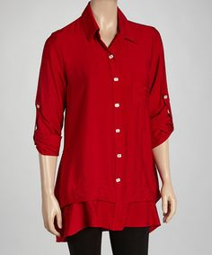 Take a look at this Red Button-Up Tunic by Come N See on #zulily today!