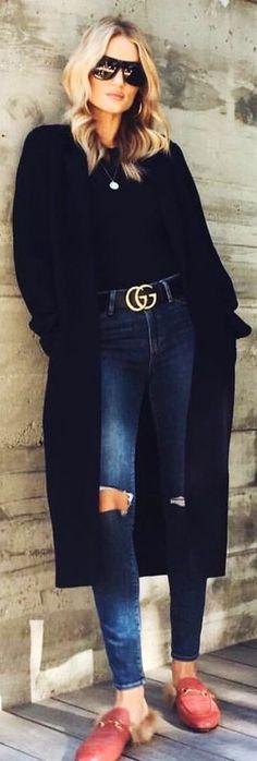 #winter #fashion / Black Coat / Black Shirt / Destroyed Skinny Jeans / Red Loafers