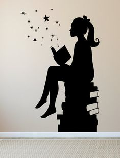 LARGE Size ORIGINAL Design Girl Reading Books Magic - Wall Decal Vinyl Art Stickers for Interiors, Schools, Classrooms, Libraries, Bedrooms - Dekor - This decal caters to the whimsy of children who just love a good book. Its a perfect fit for both e - Vinyl Art, Vinyl Wall Decals, Wall Stickers, Girl Reading, Reading Books, Wall Painting Decor, Wall Art, Wall Paintings, Library Bedroom
