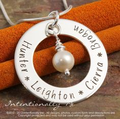 Hand Stamped Jewelry - Mommy Necklace - Personalized Sterling Silver Necklace - Simplicity Family Circle of Love Washer Deluxe