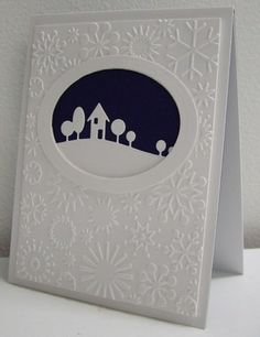 Simple card design made special with embossing and die cut framing...