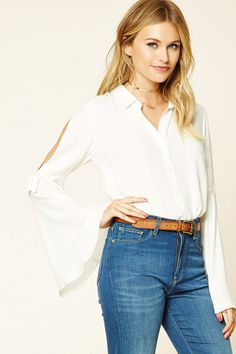 Forever 21 Contemporary - A woven shirt featuring long vented bell sleeves with bow accents, a button-down front, and a basic collar.