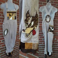 Overalls Vintage, Hand Applique, Grateful Dead, Handmade Clothes, Corduroy, Wolf, Etsy Shop, Trending Outfits, Clothing