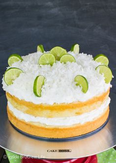 Coconut Key Lime Rum Cake ~ This soft and moist key lime vanilla cake is drizzled with a rum butter glaze and is layered with a creamy coconut frosting. It is an easy, but beautiful cake that will stand out on spring and summer dessert tables. Summer Dessert Recipes, Easy Cake Recipes, Delicious Desserts, Dessert Ideas, Cake Ideas, Lime Desserts, Lime Recipes, Coconut Recipes, Desert Recipes