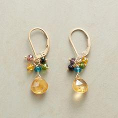 """MIRABELLA EARRINGS--Vivid multicolored hydro quartz rondelles, a festive flurry of gemstones hand wrapped with 14kt gold filled wire. Glowing golden citrine below. Handmade exclusively for us with lever back wires. 1-1/4""""L."""