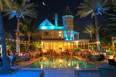 An absolute breath taking view of the southernmost mansion at night! if you are booking in key west this is the place to book!        Make your dream wedding come true:                     1-866-383-6810 #dreamwedding #keywestwedding #dayofwedding #weddingplannerkeywest #planmywedding #wedding #fantasywedding #beachwedding