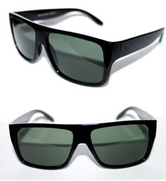 a4df0859962e Flat top Men's Sunglasses Flattop Super Black Frame Sport Green Lens Retro  664 #Stars #Square