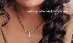 Latest Indian Gold and Diamond Jewellery Designs: Black beads necklace Diamond Mangalsutra, Gold Mangalsutra Designs, Gold Earrings Designs, Necklace Designs, Diamond Jewellery, Schmuck Design, Indian Jewelry, Beaded Jewelry, Silver Jewelry