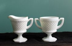 Milk Glass  Cream and Sugar Set by AnythingDiscovered on Etsy, $24.00