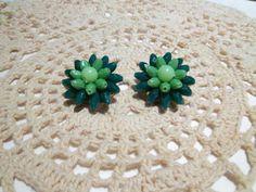 Vintage Green Cluster Earrings Hong Kong by Sarasvintageattic