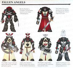 Fallen Angels of the Dark Angels Chapter of the Adeptus Astartes Warhammer Dark Angels, Dark Angels 40k, Warhammer 40k Figures, Warhammer Paint, Warhammer Models, Warhammer 40k Miniatures, Warhammer 40000, Fallen Angels, Miniaturas Warhammer 40k