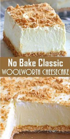 No Bake Woolworth Cheesecake is a classic, light and lemony dessert and will be ., Desserts, No Bake Woolworth Cheesecake is a classic, light and lemony dessert and will be the perfect addition to your Easter or Mother's Day menu! Woolworth Cheesecake Recipe, Cheesecake Desserts, No Bake Desserts, Easy Desserts, Delicious Desserts, Yummy Food, Cream Cheese Desserts, Healthy Desserts, Sugar Free Cheesecake