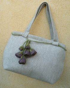 borsa Tilda in tweed con fiore by COUNTRYKITTY ORIGINAL LINK: http://www.countrykittyland.com/
