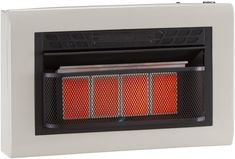Cedar Ridge Hearth Dual Fuel Ventless Infrared 4 Plaque, 25,000 BTU, T-Stat Control Gas Heater, Beige Natural Gas Wall Heater, Best Space Heater, Safe Lock, Canned Heat, Central Heating, Heating Systems, Hearth, Beige, Top