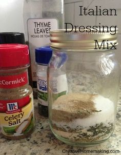 Easy homemade version of Italian seasoning mix. Can be used to make salad dressing or used in other recipes that call for a packet of Italian seasoning mix. Homemade Spices, Homemade Seasonings, Italian Dressing Mix, Italian Salad, Seasoning Mixes, Italian Seasoning, Healthy Crockpot Recipes, Cooking Recipes, Cooking Tips