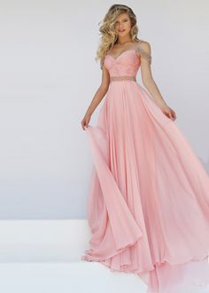 Lovely Blush Beaded Off The Shoulder Straps Ruched Evening Dress
