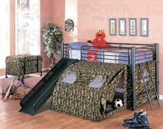 """Coaster Kid's GI Child Bunk Bed with Slide and Tent, Twin Size by Coaster Home Furnishings. $418.64. Kids and Youth. Some assembly may be required. Please see product details.. 115""""L x 100""""W x 50""""H. Kid's Twin Size GI Child Bunk Bed with Slide and Tent. Crafted in sturdy steel tubing and styled to an Army theme, this bunk bed comes complete with side ladder, underneath tent and fun slide. This bunk bed is perfect for army camouflage style fun and games for your ..."""