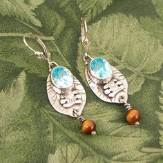 """Blue CZ Sterling Earrings """"Sunny Visitor"""" with Tiger-Eye beads - lever back - OOAK by marybird on Etsy"""