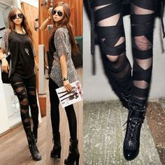 Black Alternative Goth Emo Mummy Scene Clothing Leggings Pantyhose SKU-71106058