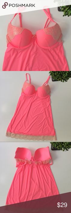 """✨NWOT✨ VICTORIA'S SECRET Pink Chemise/Slip Beautiful chemise from VS. Chest: 34C; molded cups. Hips: 17"""". Length: 23 1/2""""; adjustable straps. Measurements taken lying flat. Lots of stretch. Ask any questions before purchasing. Victoria's Secret Intimates & Sleepwear Chemises & Slips"""