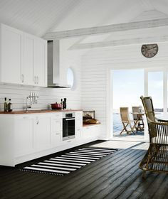 Hur få till denna look på väggarna (liggande panel)? New Kitchen, Kitchen Dining, Kitchen Decor, Cozy Cafe, Interior Exterior, Home Fashion, Home Kitchens, Cottage Style, Sweet Home