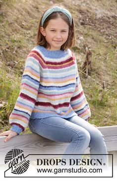 Happy Stripes - Knitted jumper for children in DROPS Air, DROPS Nepal or DROPS Paris. The piece is worked top down with stripes and raglan. Knitting Stitches, Knitting Patterns Free, Free Knitting, Baby Knitting, Finger Knitting, Knitting Tutorials, Crochet Patterns, Drops Design, Crochet Girls