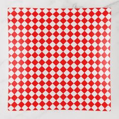 Red And White Diamond Pattern by ShirleyTaylor Trinket Trays - red gifts color style cyo diy personalize unique