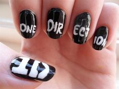 awesome one direction nails by AmberYoung from Nail Art Gallery Cute Nail Art, Cute Nails, Pretty Nails, One Direction Nails, Hair And Nails, My Nails, Band Nails, Best Nail Art Designs, Fabulous Nails