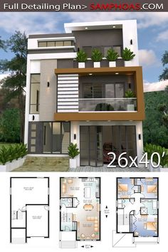Home Design Plan With 3 Bedrooms - SamPhoas Plansearch bill clintonRenovation Home Design Plan This villa is modeling by SAM-ARCHITECT With Three stories level. It's has 3 bedrooms.Home Design Plan 2 Storey House Design, Duplex House Plans, Bungalow House Design, House Front Design, Small House Design, Modern House Design, House Layout Plans, House Layouts, 30x40 House Plans