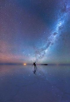 Wow!!! Want to see this for myself some day... Dancing with the stars on the world's largest salt flat, Bolivia