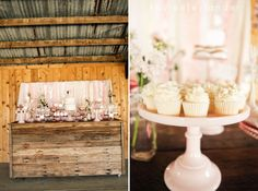We will be having a desert table on a rustic dresser, like this! Having the cake made for us but making the deserts.