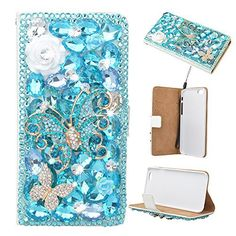 Evtech(tm) Butterfly Floral Bling Crystal Glitter Book Style Folio PU Leather Wallet Case with Handbag Phone Holder & Card Slots for iPhone 6 Plus/iPhone 6s Plus (5.5 inch) - http://leather-handbags-shop.com/evtechtm-butterfly-floral-bling-crystal-glitter-book-style-folio-pu-leather-wallet-case-with-handbag-phone-holder-card-slots-for-iphone-6-plusiphone-6s-plus-5-5-inch/