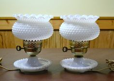 Pair of Vintage Milk Glass Hobnail.  Such a cute pair of lamps