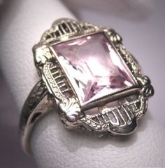 Art Deco Morganite Ring Vintage, circa 1920 by jannyshere