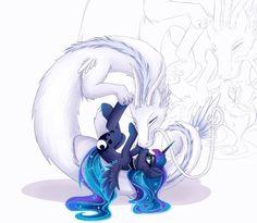 Alicorn and Dragon snuggles by Lyra-senpai