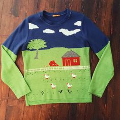 REDUCED TO £15! ✨✨Crazy farmhouse scene jumper. Unisex. Purchased from Afflecks Palace in Manchester. Featuring fluffy clouds, a red farmhouse and chicks frolicking in the fields! 🐓🐓🐓🐓 Free size, but probably best for a women's 8-12 or a men's XS or S. #farmer @depop @delia #noveltyjumper #novelty #jumper #sweater #knit #farm #unisex #fall #oldmacdonald