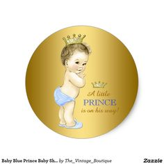 Baby blue and gold prince baby shower classic round sticker Baby Halloween Costumes For Boys, Halloween Labels, Happy Halloween, Baby Shower Labels, Baby Shower Printables, Free Printables, Unique Baby Shower, Baby Boy Shower, Kids Labels