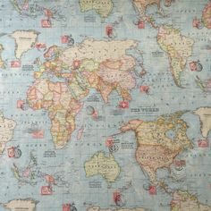 vintage world map cotton linen fabric for curtain upholstery sold by metre
